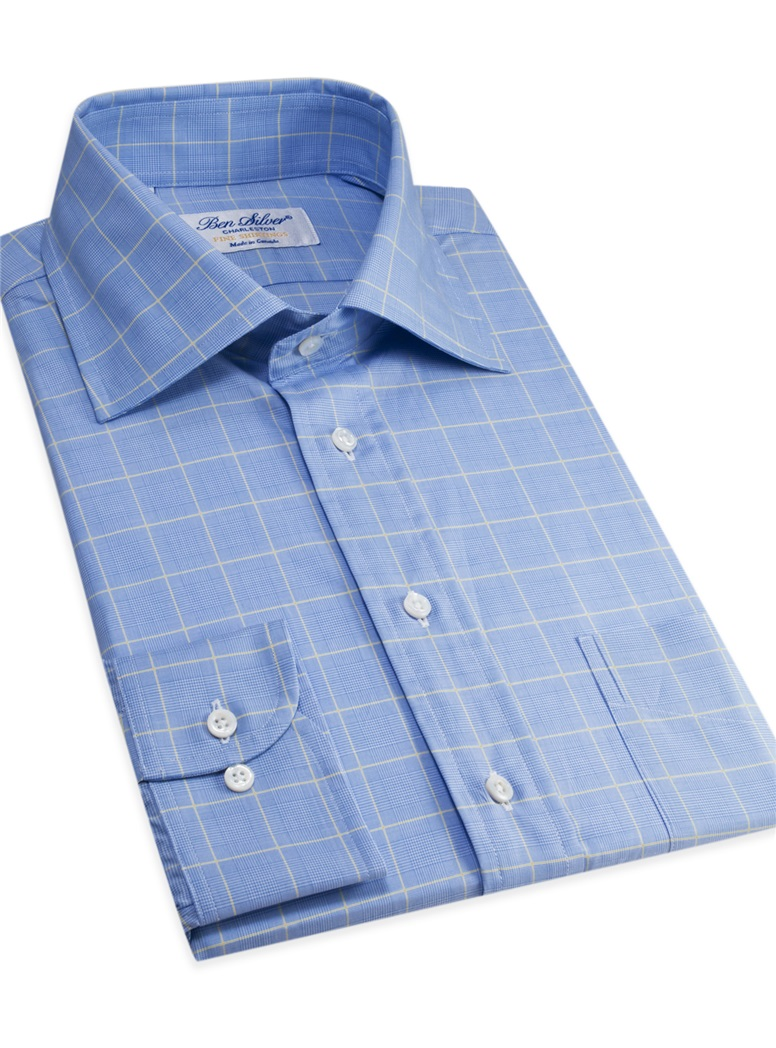 Sky and White Glen Plaid Spread Collar with Yellow Windowpane