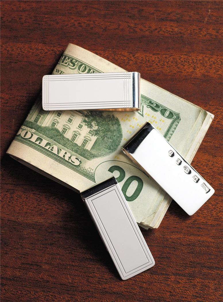 Sterling Corner Check Money Clip