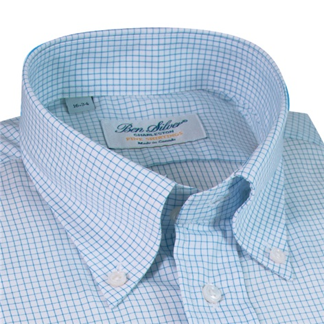 White with Blue Grid Button Down Travel Shirt