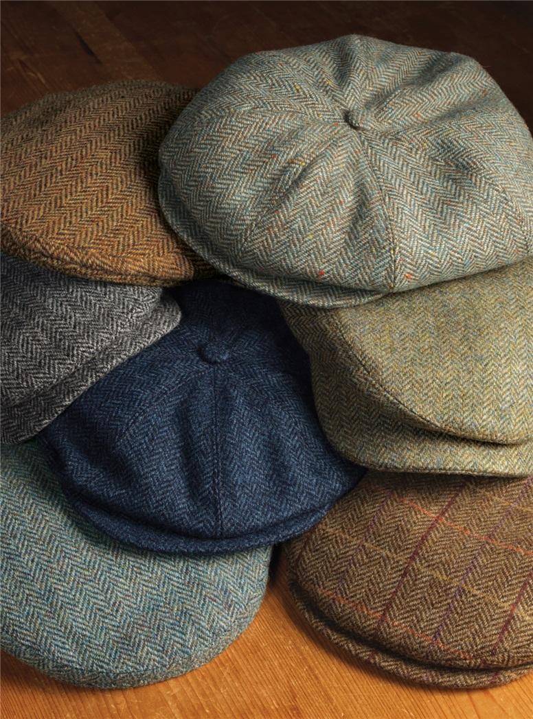 Wool Helmsley Cap in Chestnut Herringbone with Autumnal Windowpanes