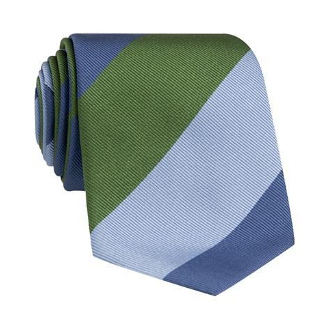Woven Block Stripe Tie in Fern, Sky and Denim