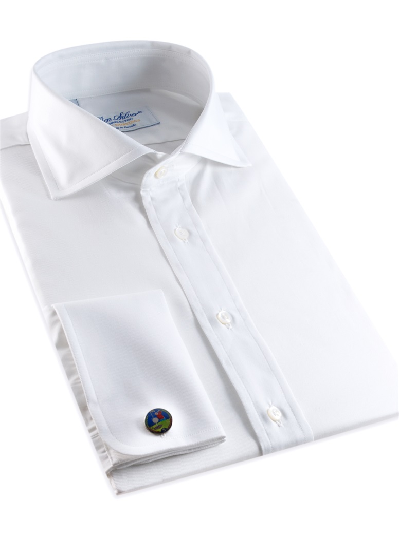 Classic White Twill Cutaway Collar with French Cuffs