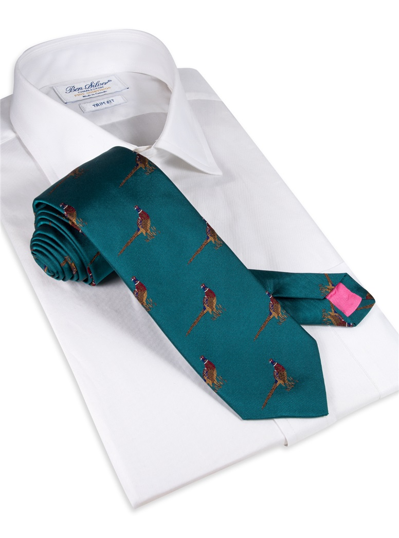 Jacquard Woven Pheasant Motif Tie in Teal