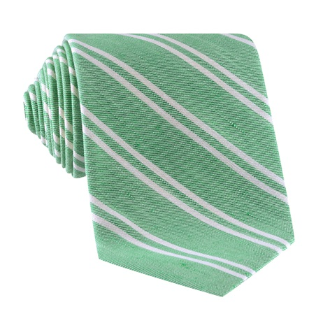 Linen and Cotton Double Stripe Tie in Grass