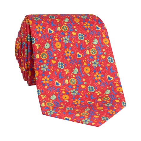 Silk Floral Printed Tie in Ruby