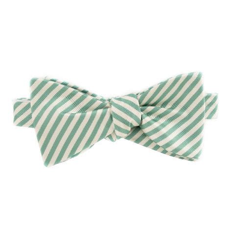 Silk Striped Bow Tie in White and Grass