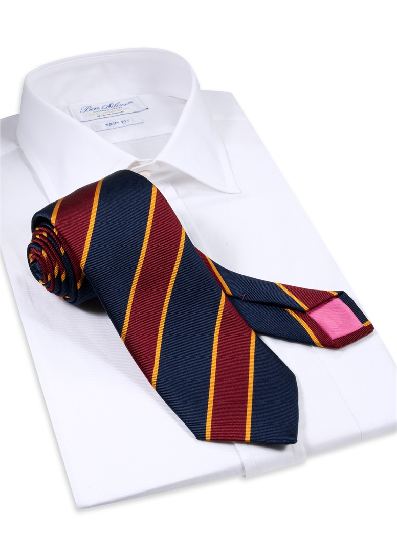 Silk Striped Tie in Midnight and Wine