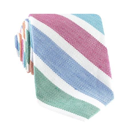 Linen Stripe Tie in Tangerine and Grass