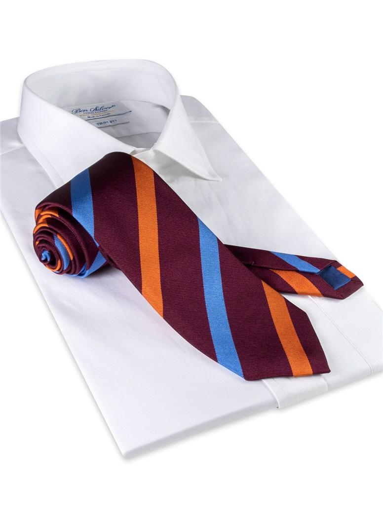 Silk Multi Stripe Tie in Wine