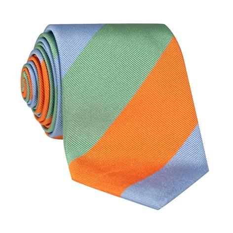 Woven Block Stripe Tie in Sage, Tangerine and Sky