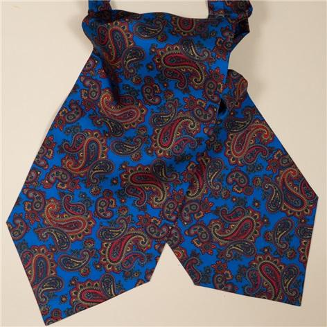 Silk Printed Paisley Ascot in Cobalt
