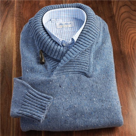 Donegal Lambswool Shawl Collar Sweater in Dusty Blue