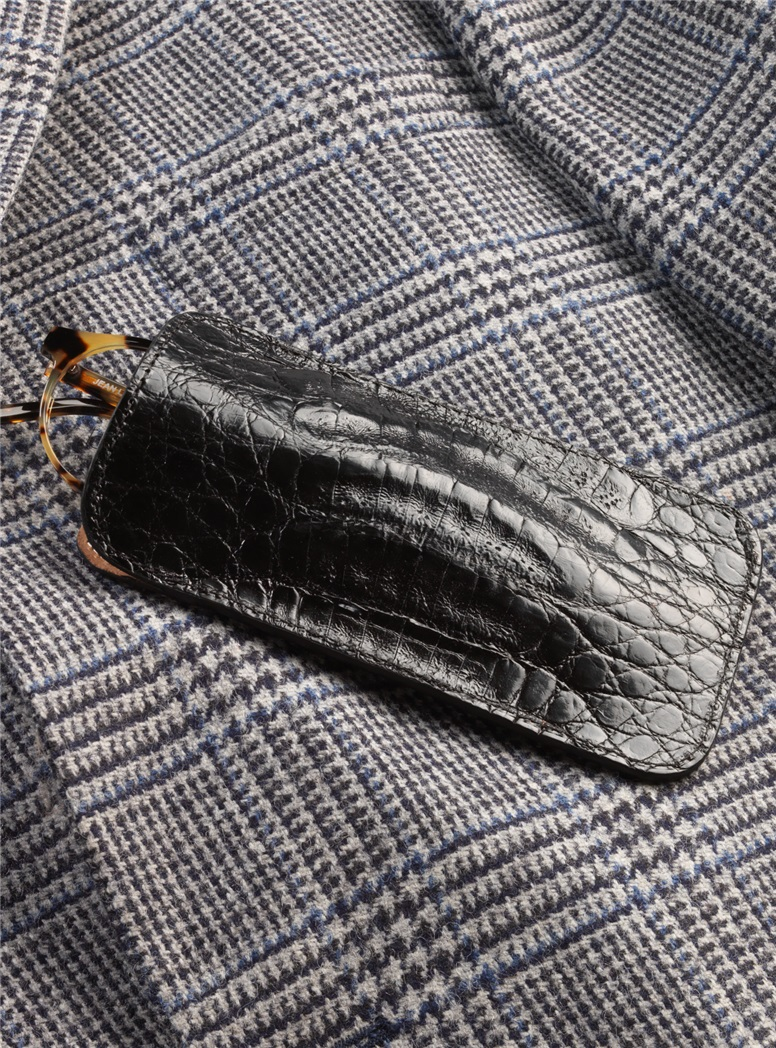 Crocodile Eyeglass Case in Black