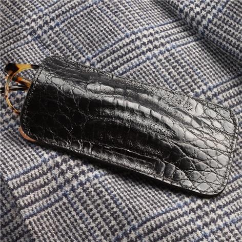 Crocodile Eyeglass Case in Black