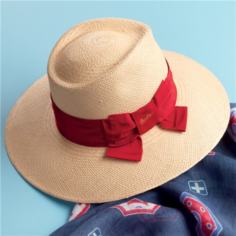 Ladies Panama Hat with Red Band