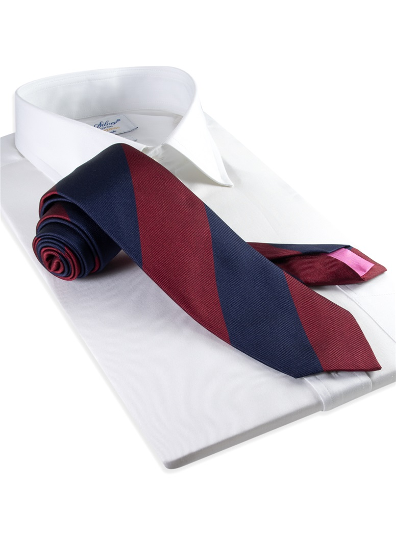 Silk Block Stripe Tie in Wine and Navy