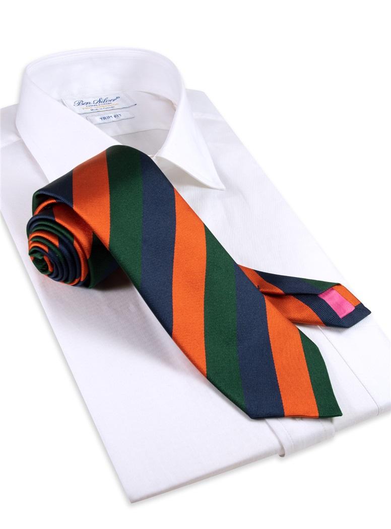 Silk Multi-Stripe Tie in Tangerine