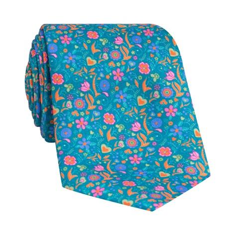 Silk Floral Printed Tie in Teal