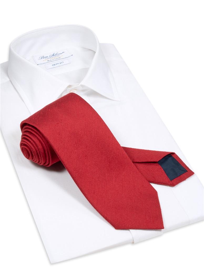 Silk Shantung Tie in Cardinal
