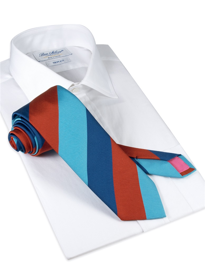 Mogador Block Stripe Tie in Ruby, Denim and Turquoise