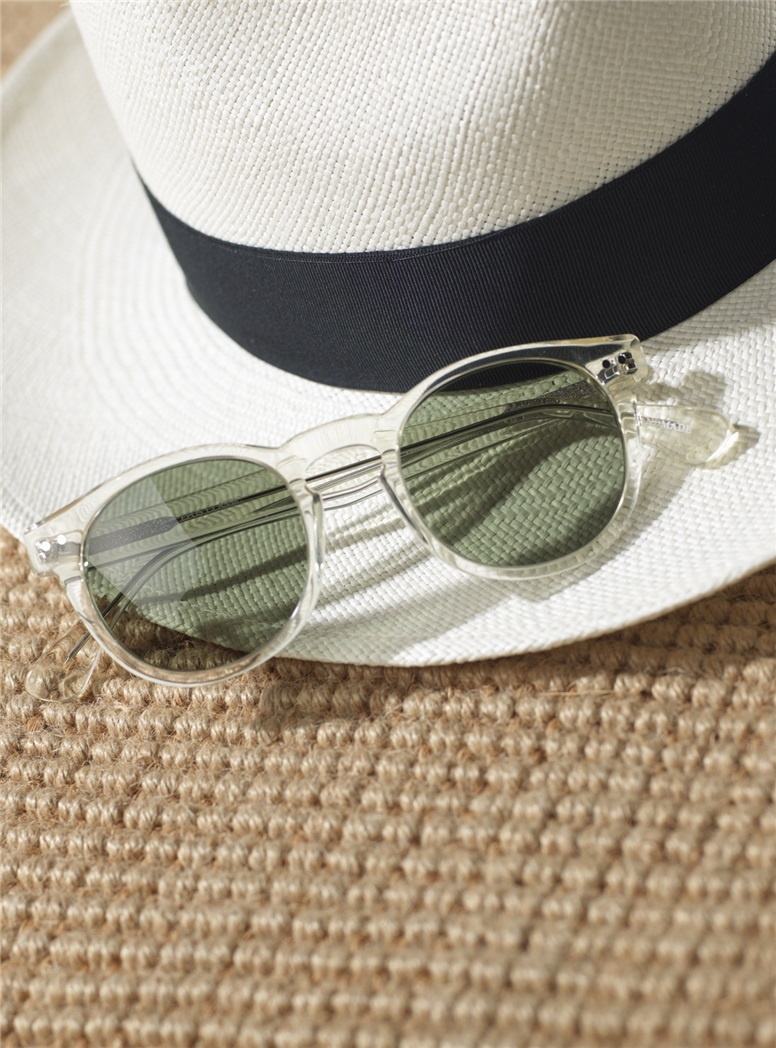 Semi-round Sunglasses in Champagne with Green Lenses