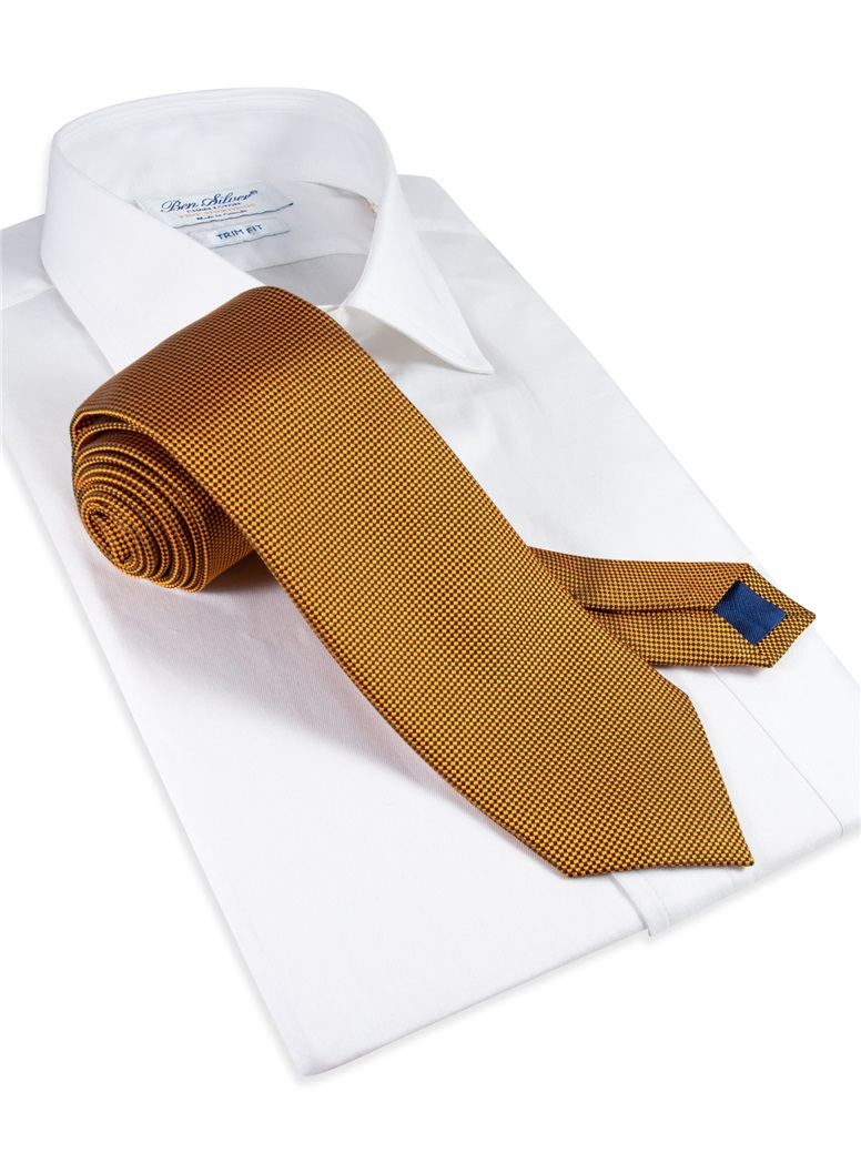 Silk Basketweave Tie in Bronze