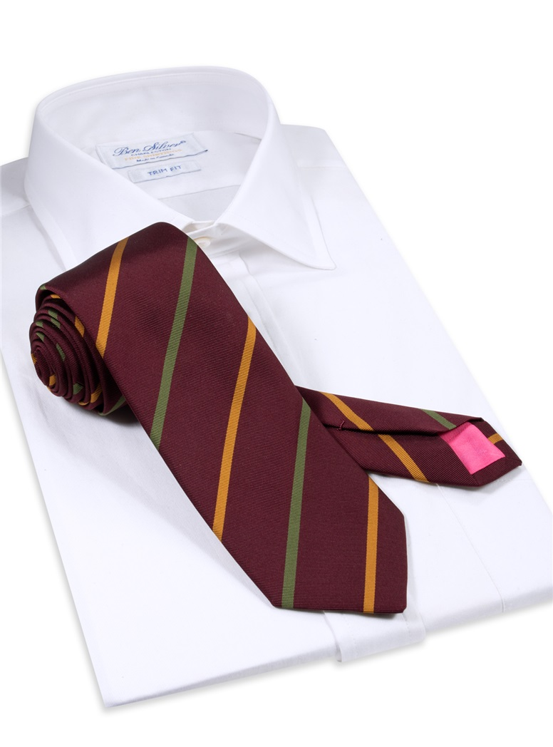 Mogador Striped Tie in Wine