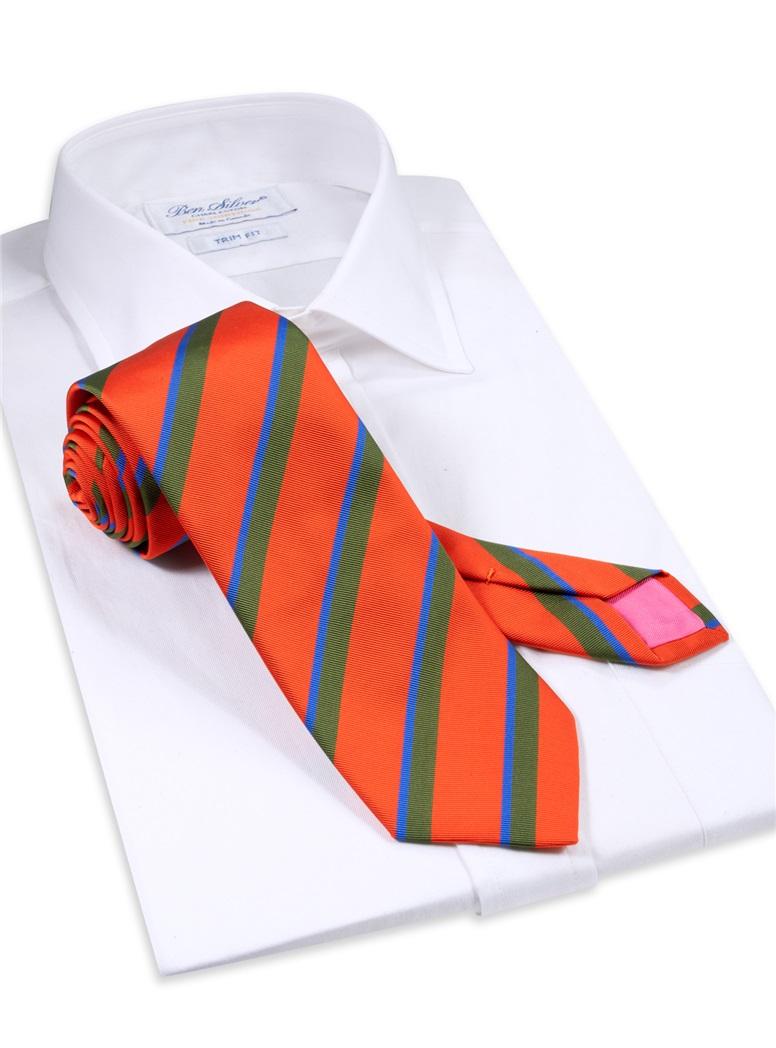 Mogador Double Striped Tie in Tangerine