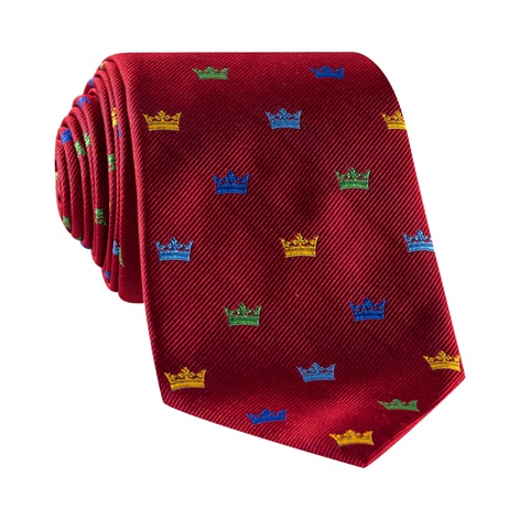 Silk Woven Crown Motif Tie in Red