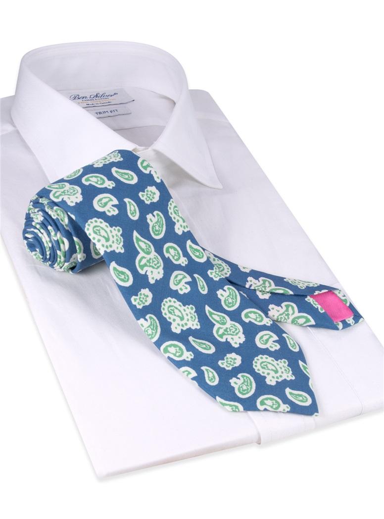 Silk Paisley Printed Tie in Marine