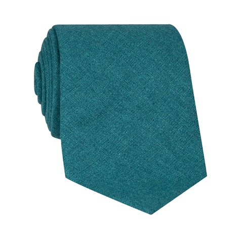 Silk and Cashmere Solid Tie in Teal