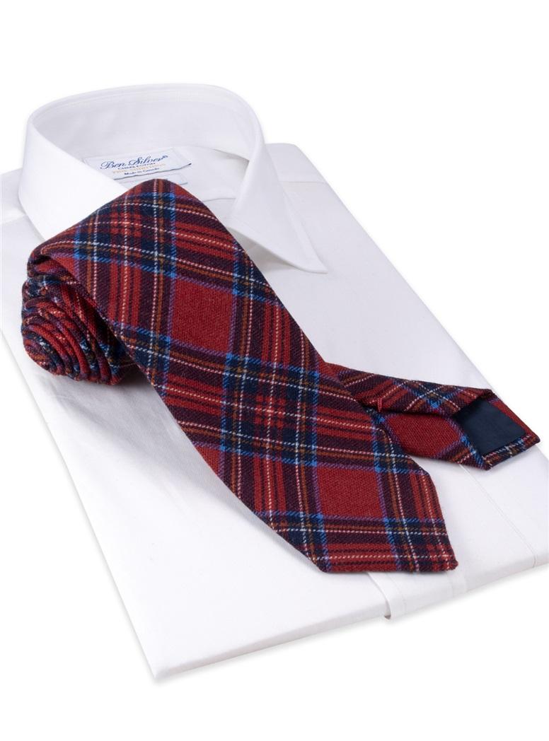 Wool Plaid Printed Tie in Red
