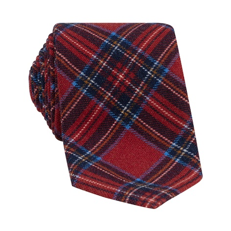 Wool Plaid Printed Tie in Red