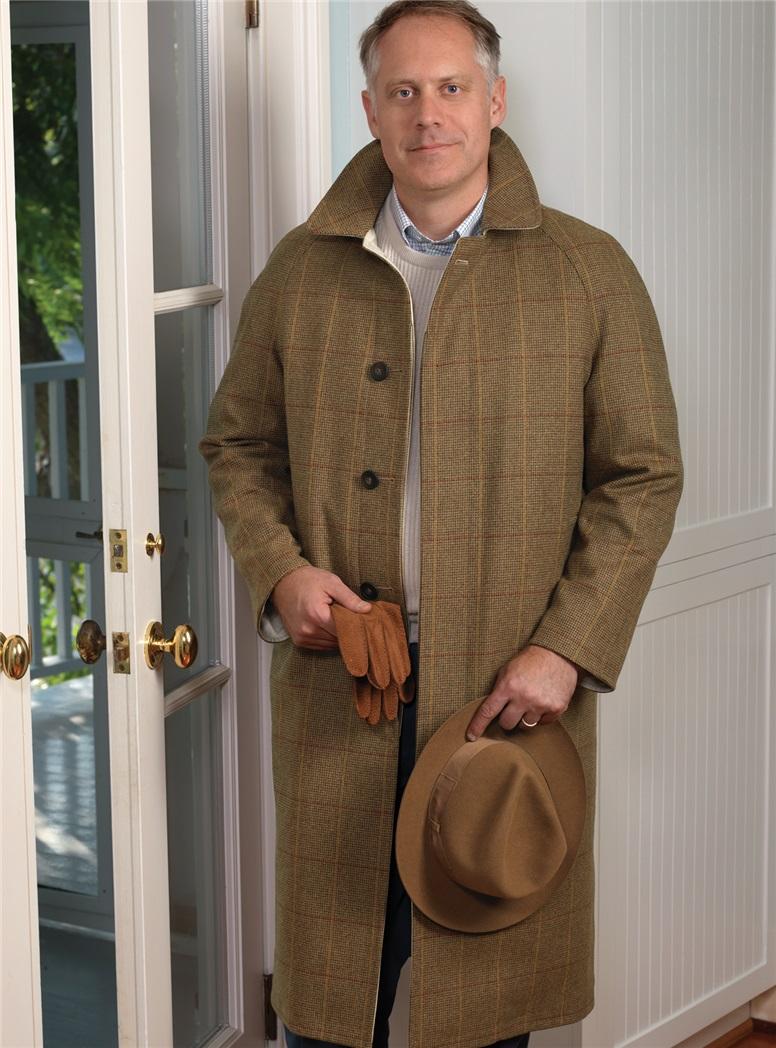 Reversible Birdseye Overcoat and Beige Raincoat