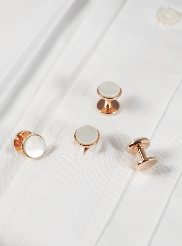 Rose Gold Mother of Pearl Stud Set
