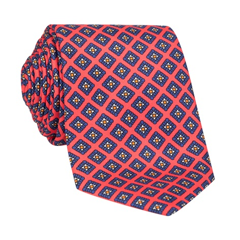 Silk Diamond Printed Tie in Coral