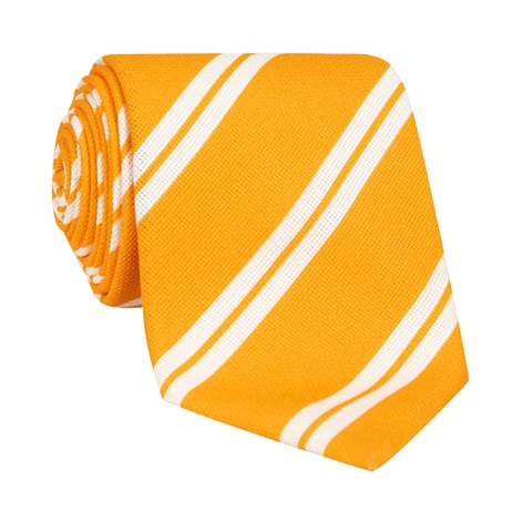 Silk Panama Weave Striped Tie in Sun