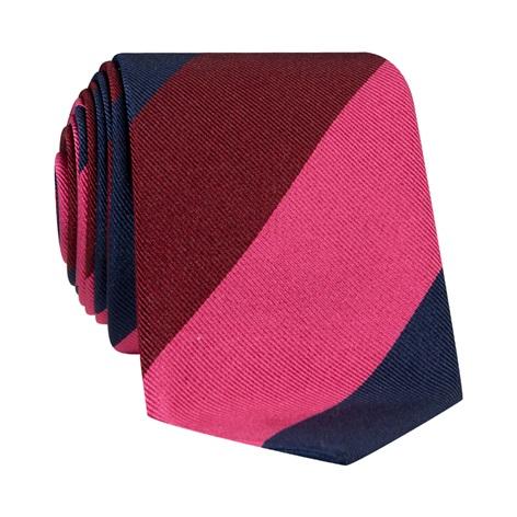 Silk Block Striped Tie in Fuchsia, Navy and Ruby