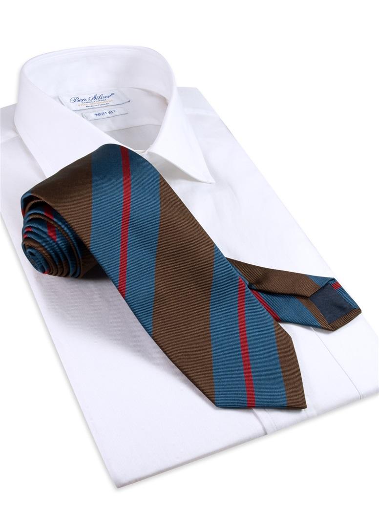 Silk Multi-Stripe Tie in Mocha
