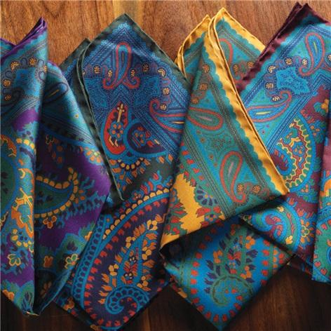 Silk Paisley Print Pocket Squares