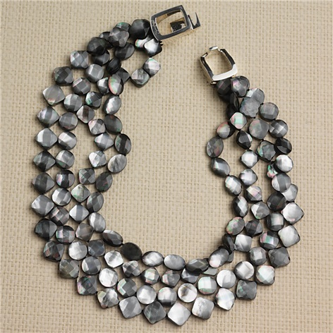 4-Strand Dark Grey Mother-of-Pearl Necklace