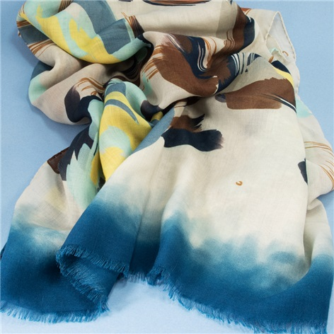 Wool and Cashmere Floral Printed Scarf in Ivory