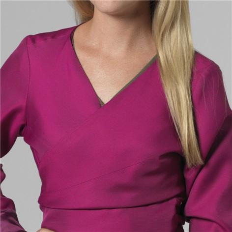 Marie Meunier Silk Cache Coeur Wrap Top in Fuchsia