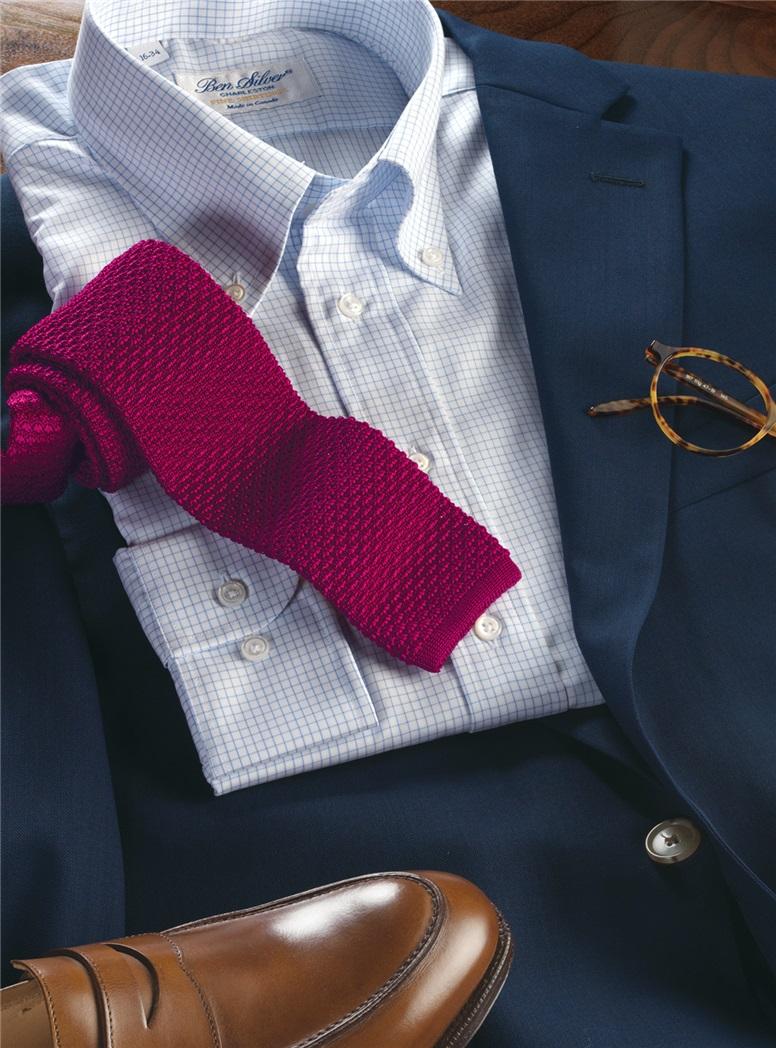 Classic Silk Knit Tie in Raspberry
