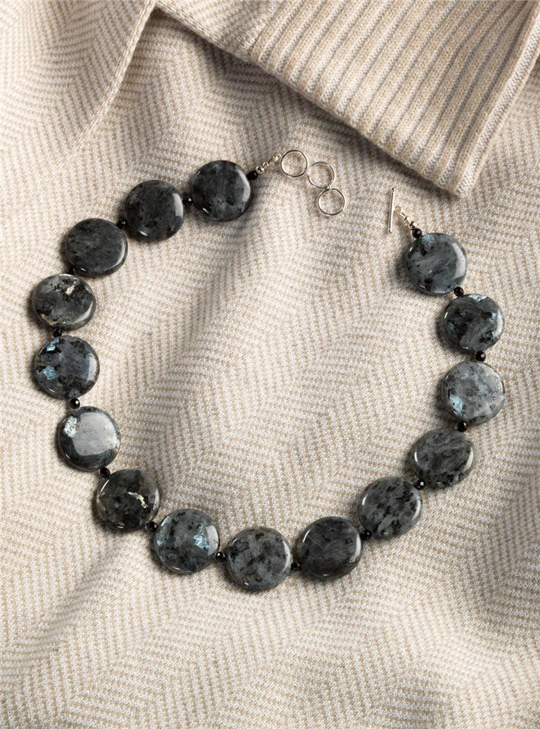 Larvikite and Black Onyx Necklace