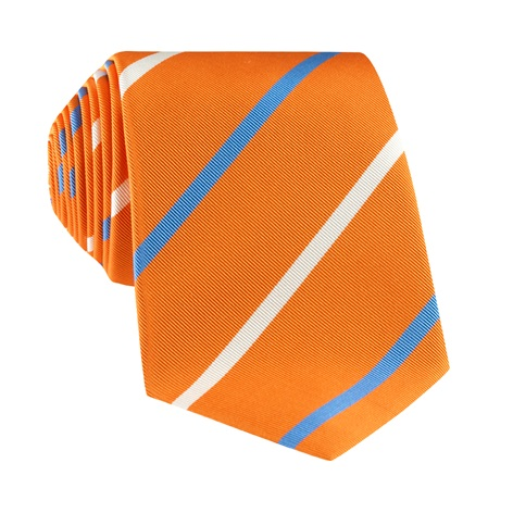 Mogador Double Striped Tie in Tangerine