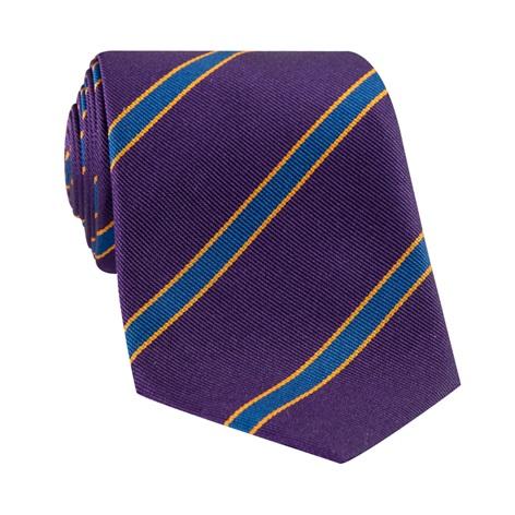 Silk Stripe Tie in Violet and Royal Blue