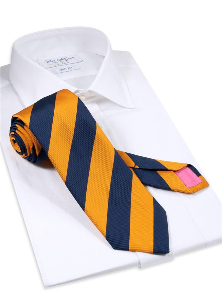 Mogador Block Striped Tie in Marigold and Navy