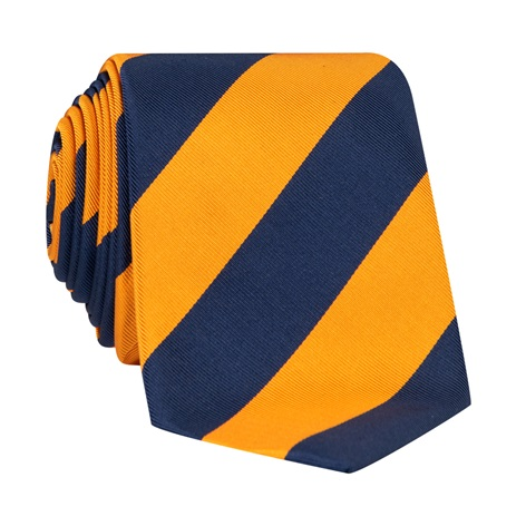 Mogador Block Striped Tie in Marigold and Navy