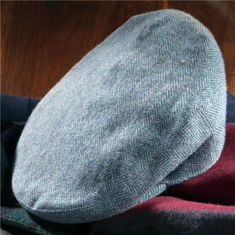 Wool Garforth Cap in Teal Green Herringbone